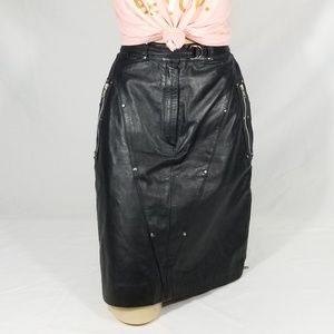 Nice Harley Davidson Black Leather Skirt 8 w/Belt